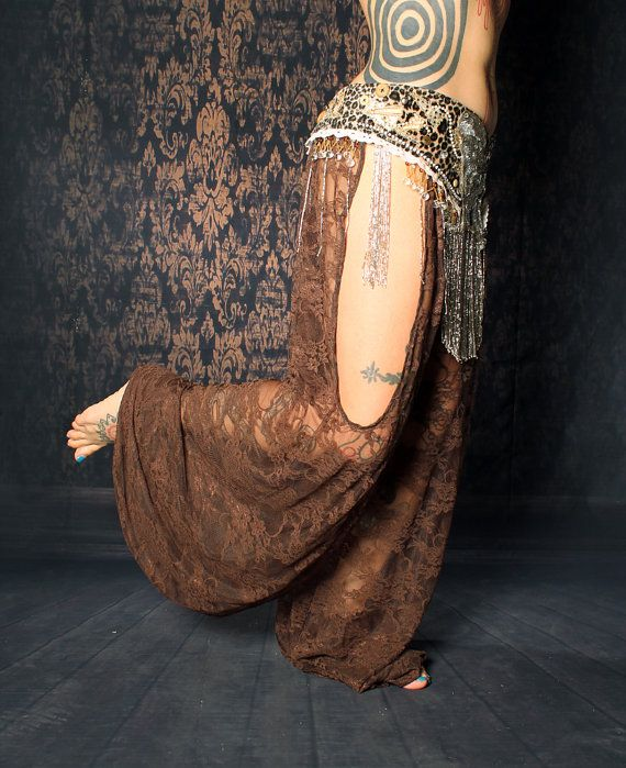 Tribal Belly Dance Harem Pants Brown Lace cut out by CrudeThings