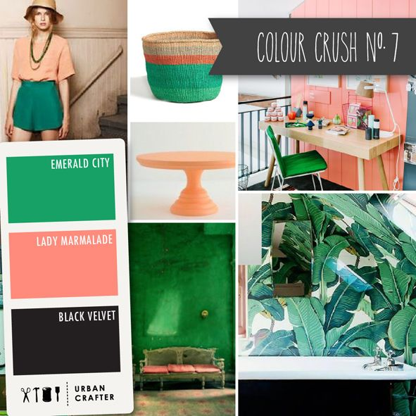 """Urban Crafter Colour Crush Mondays www.urbancrafter.com.au Colour Crush #7. Get a similar look with Urban Crafter acrylic paints """"Emerald City,"""" """"Lady Marmalade"""" and """"Black Velvet."""""""