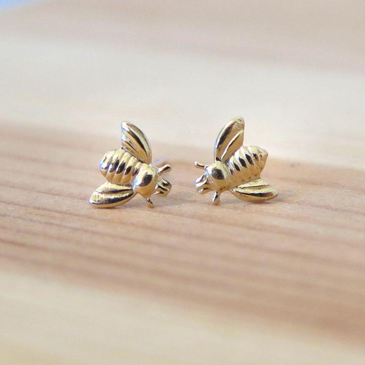Ape del miele di oro 14k orecchini API gioielli gioielli di
