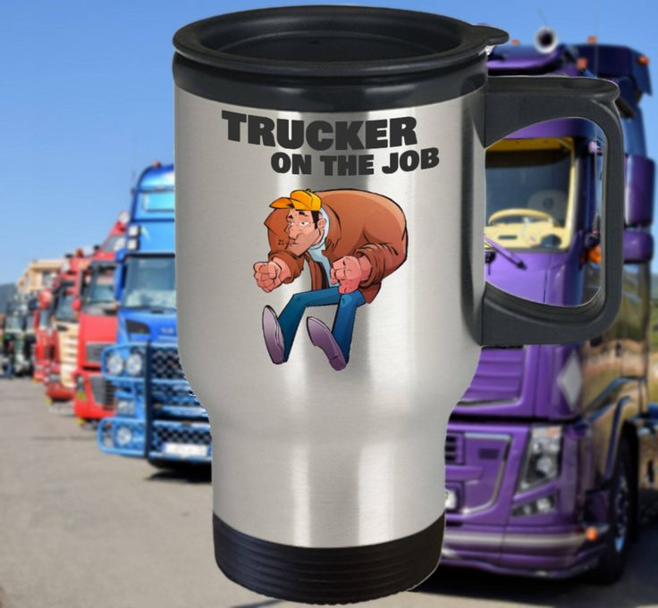 Trucker Travel Mug, Funny Trucker Gift, 14oz, Double-Walled, Stainless Steel by PortunaghDesign on Etsy