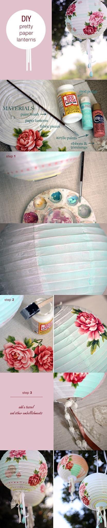 decoupage/paint on paper lanterns