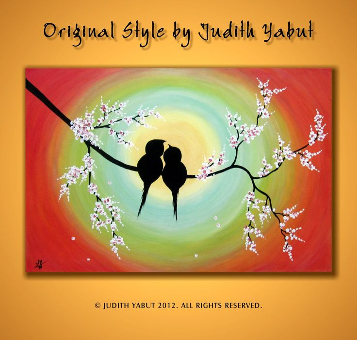 LOVE BIRDS Painting, Large canvas art; Ready to Hang; Romantic gift; Landscape by studiox26 on Etsy