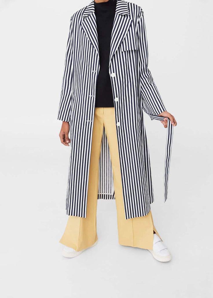 Stripes cotton trench | MANGO
