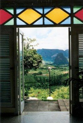 Stained glass framing view - Los Jazmines Hotel - Pinar - Cuba