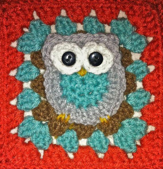 Crochet Owl Baby Blanket Aqua/Melon by MandyHadALittleLamb, $65.00