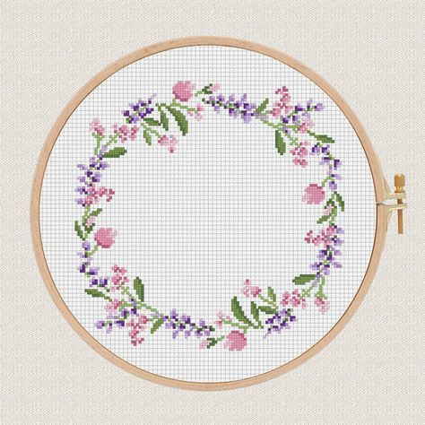 flowers cross stitch pattern Lavender Helleborus floral wreath