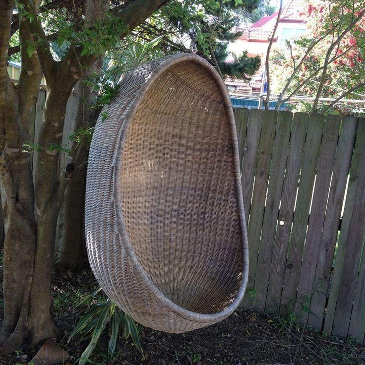 Retro Cane Wicker Hanging Chair Egg Pod Outdoor Garden