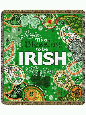 60x48 IRISH Ireland Shamrock Clover Tapestry Afghan Throw Blanket