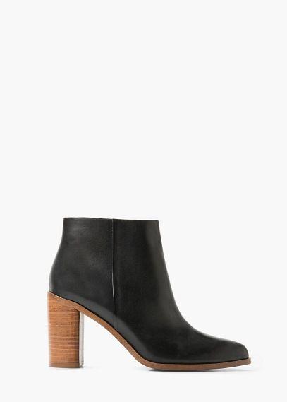 Heel leather ankle boot | MANGO