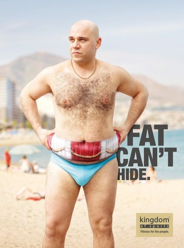 Funny Fitness Center Ads Where People Try To Hide Fats Under 'Paintings' - DesignTAXI.com