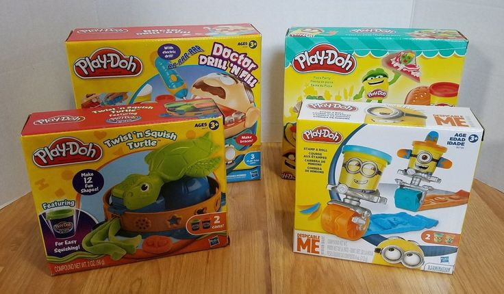 Lot of 4 Play-Doh Sets Minions Pizza Party Turtle Doctor Drill N Fill