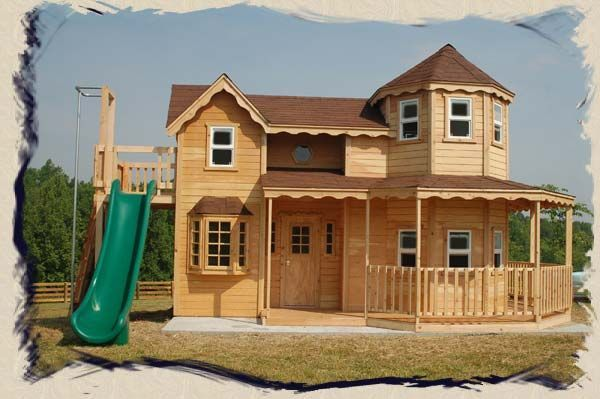 Playhouse swing set plans childrens playhouses plans for Kids outdoor playhouse