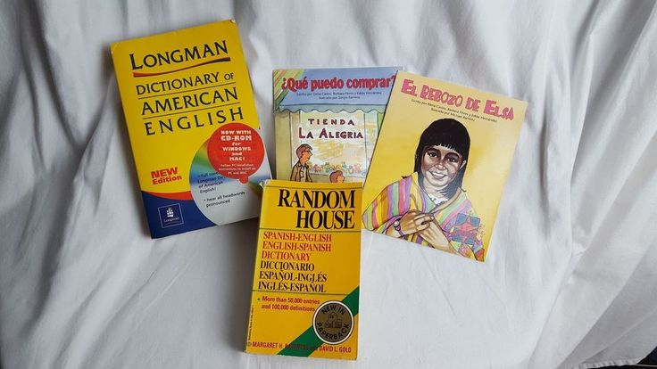 Lot of 4 Spanish Language Book Lot 2 kids 2 adult dictionaries spanish/english #TextbookBundleKit