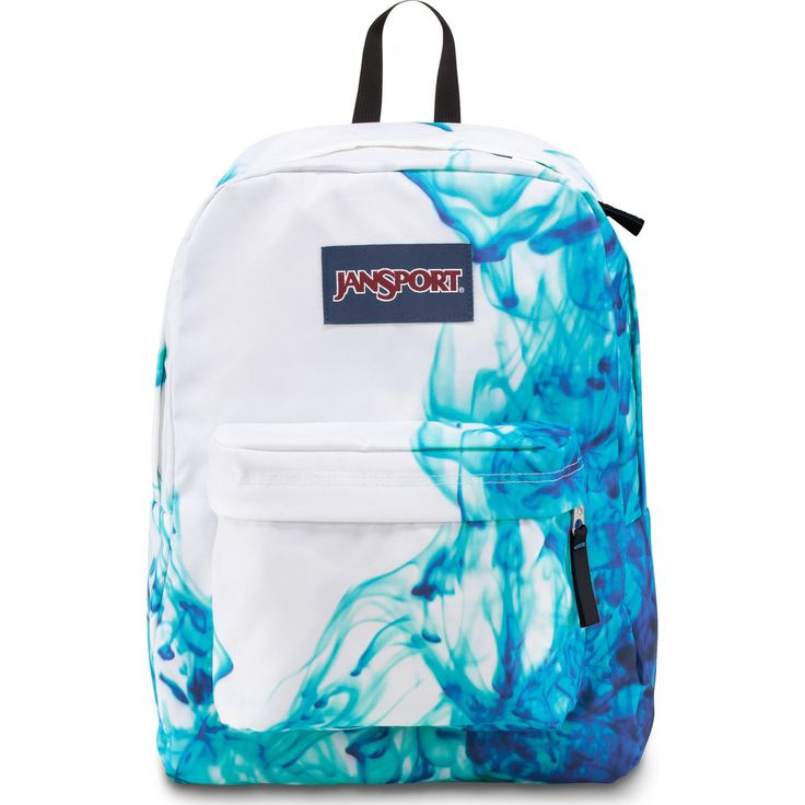 The Jansport Superbreak Backpack is the ultimate multipurpose and lightweight everyday pack for adventures. This Multi Blue Drip print pack features a spacious main compartment, a front utility pocket