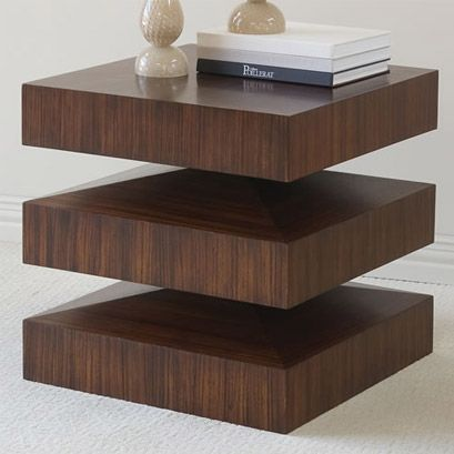 Modern end table in a dark wood finish. Perfectly placed graining and a floating look gives this modern end table a sturdy and expensive look. FINISH: Dark Wood [share]