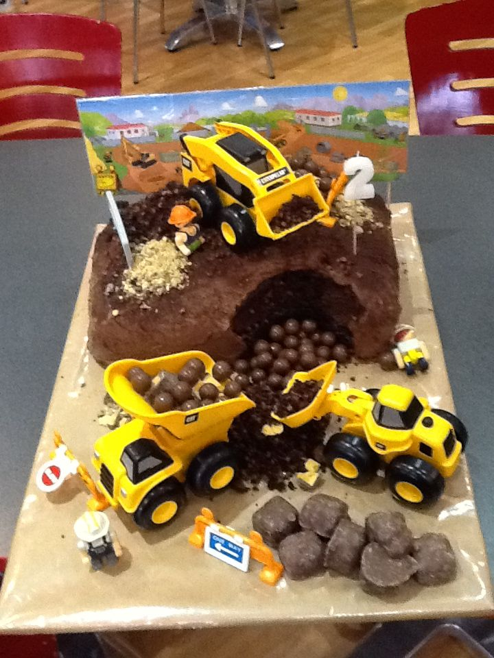 """Construction Site"" cake I made for the twin's 2nd birthday."