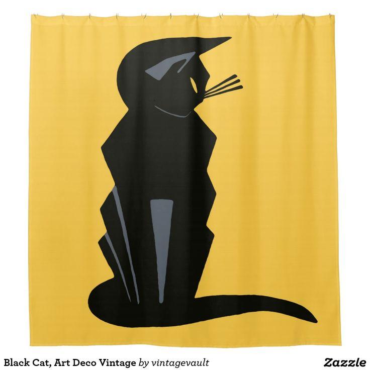 Black Cat, Art Deco Vintage Shower Curtain