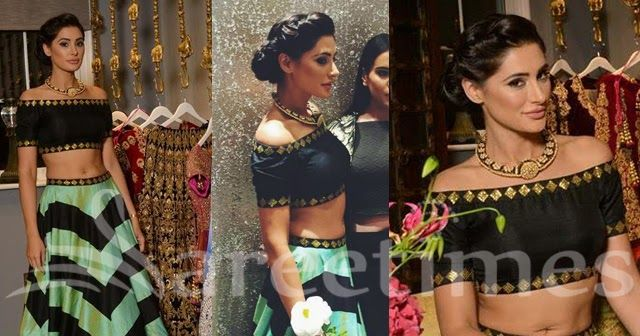 Nargis Fakhri attended Doli Diaries event in London wearing a green and black chevron striped lehenga paired with a black and gold off s...
