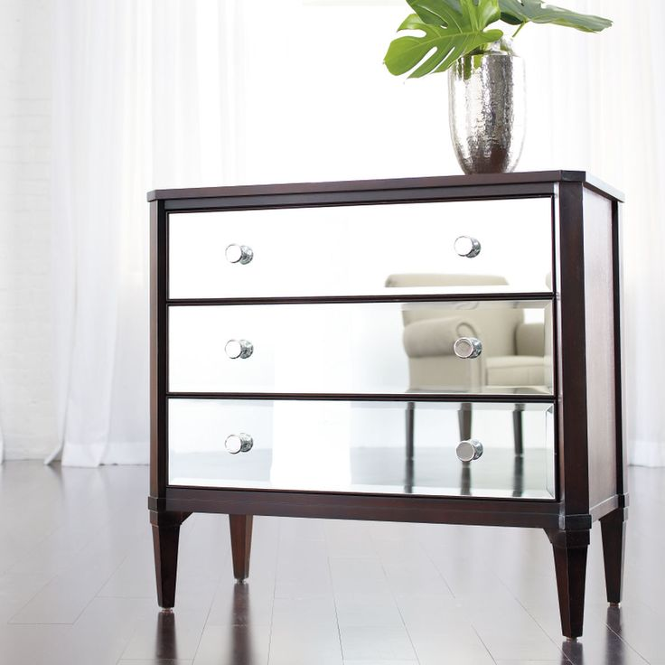 Furniture: Astonishing Image Of 3 Drawer Mirrored Dresser And ...