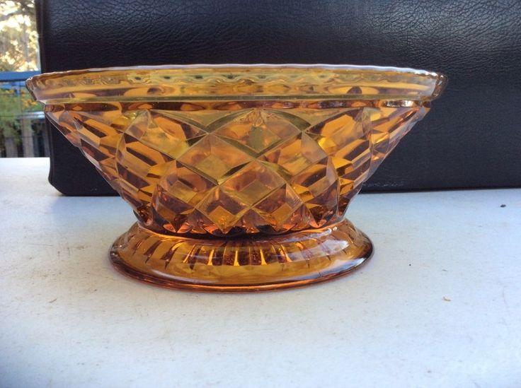 Vintage Australian Art Deco Australian Depression Glass Amber Bowl, Diamond cut  au.picclick.com