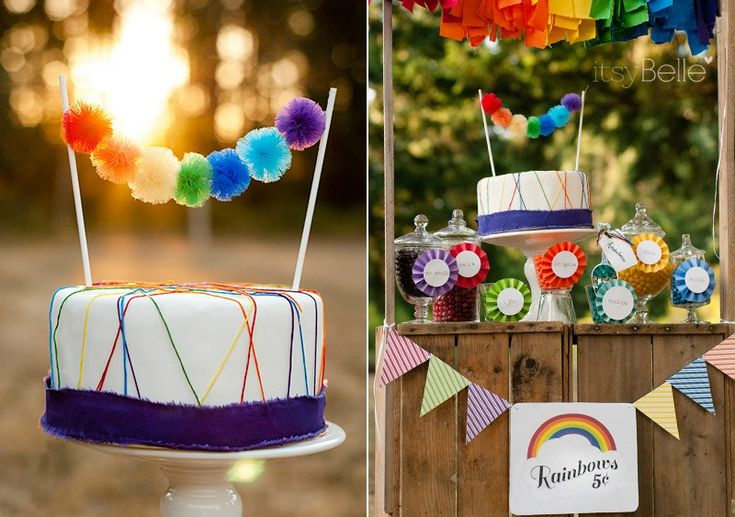 Rainbow Party - Rainbow Cake Topper - #partyidea #kidsparty