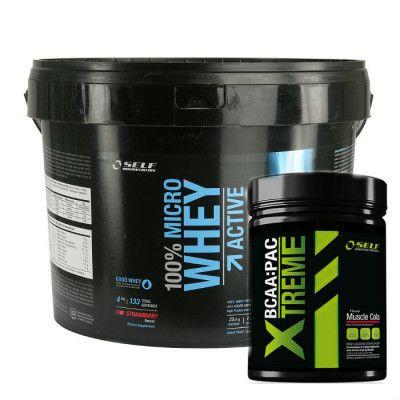 Self Omninutrition Micro Whey Active 4kg + Xtreme BCAA 500g är ett komplett paket med exakt det du behöver för din träning. Oavsett om du vill bygga muskler eller bränna fett så är protein och aminosyror den absolut viktigaste delen av din kost.