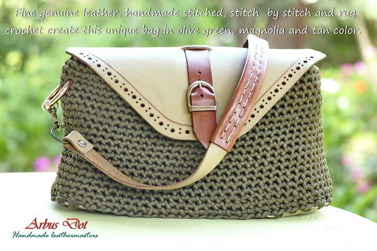 handmade leather-crochet bag!