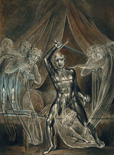 Richard III and the Ghosts.William Blake c.1806.Группа Ричарда была окруж.и постеп.отступ.назад чер.болота. Страж королев.знамени,Персиваль Сирвелл,потеряв ноги,держал знамя Йорков поднятым до тех пор,пока не был зарублен.Лошадь короля завязла в трясине,он был вынужд.сраж-ся пешком.Его телохран-ли предл.ему св.лошадей,чт.бежать,он отказался. Все летописцы сход.на том,что он боролся до конца.Окруж. валлийскими копьеносцами,посл. кор.Йорков погиб на поле битвы. Нортумберленд бежал,Норфолк…