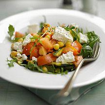WeightWatchers.fr : Recette Weight Watchers - Salade de pois chiches au chèvre et à la roquette