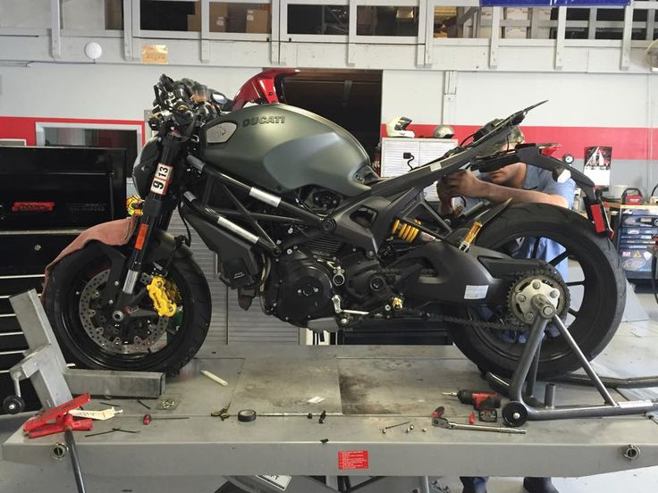 Monster Diesel in the shop getting some goodies plugged in! #ducati