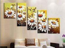küçük çiçeklenme ayçiçeği modern ev dekor çiçek sanat resim pianting tuval 5 adet büyük duvar yağı resimleri 5p262(China (Mainland))