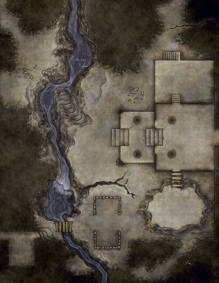 Time for some dungeon mapping. This map was created to be a drop in map for any set of dungeoneering adventurers.  It was an exercise in designing fun terrain for a combat, without looking forced. There are multiple elevations, walls, a river, and a rickety bridge. So a good range of tactical options and cover for canny warriors. #dungeonmap
