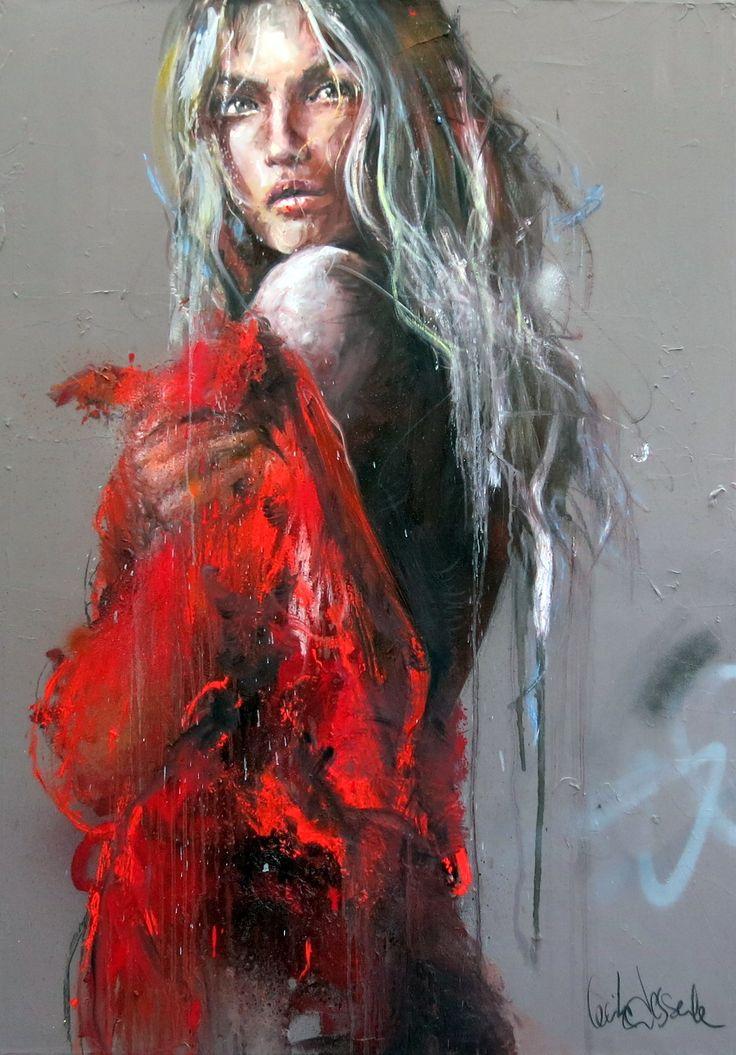 CECILE DESSERLE La robe rouge Format 81 x 116 cm Huile sur toile | Cécile Desserle - Site Officiel