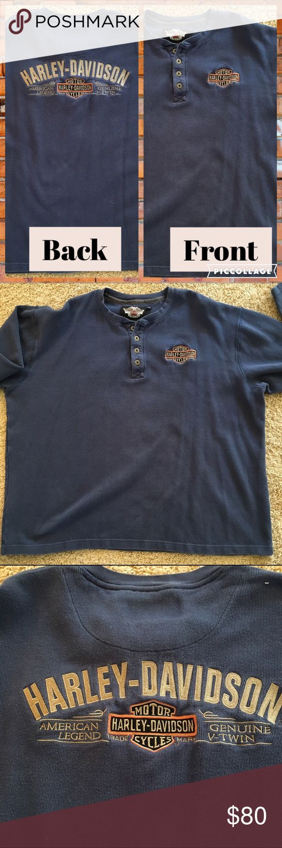 👔Harley Davidson👔 MENS longsleeved thermo shirt 👔Harley Davidson👔 MENS longsleeved cobalt blue thermal shirt. Worn one time.   4 logo buttons at neckline. Front and back embroidered  Harley Davidson logo in tan. Size is Tall XXL but it fits like a reg XXL excellent condition Harley-Davidson Sweaters