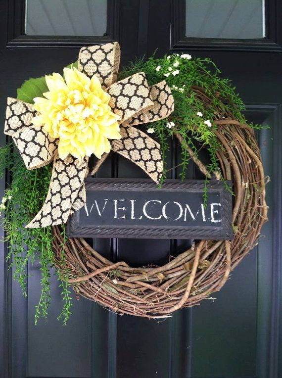 Welcome Wreath Summer Grapevine By Jennycmoon 50 00 Clever Crafts Pinterest Wreaths And Door