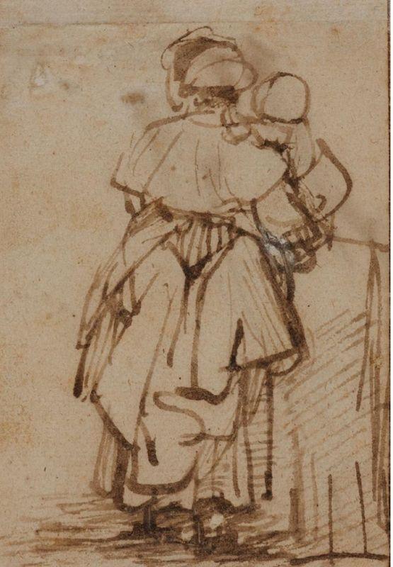 Rembrandt van Rijn (1606 - 1669), Schets van een vrouw die een kind vasthoudt / Sketch of a Woman Holding a Child © State Pushkin Museum Moskou