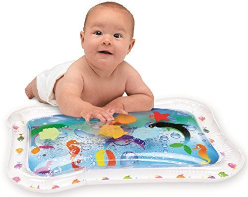 Kleeger Inflatable Baby Water Play Mat Center Fun Activity For Children And Infants  With the Kleeger Baby Mat, you can bring the Aquarium to them! While Nurturing, Stimulating, and Challenging their mind and body. Simply inflate the border, than fill the mat with tap water from your sink and than seal it with the plug. There are fish and some stars that float around in the mat for your baby to push and try to grab, its so funny to watch your baby try to catch a fish, and the pressur..