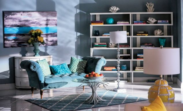 Bright blues (turquoise), whites, coral, splashes of yellow against more neutral grays, blues, & lavender
