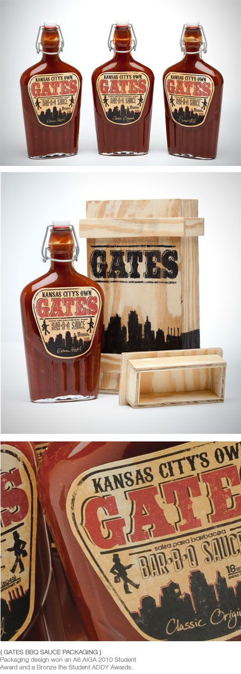Gates BBQ Packaging by Thomas Price, via Behance Like the idea of wood print/actual wood containers for our sauces