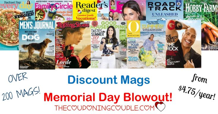 Discount Mags Memorial Day Blowout! Over 200 mags! Starting at only $4.75/year!  Click the link below to get all of the details ► http://www.thecouponingcouple.com/discount-mags-memorial-day-blowout/ #Coupons #Couponing #CouponCommunity  Visit us at http://www.thecouponingcouple.com for more great posts!