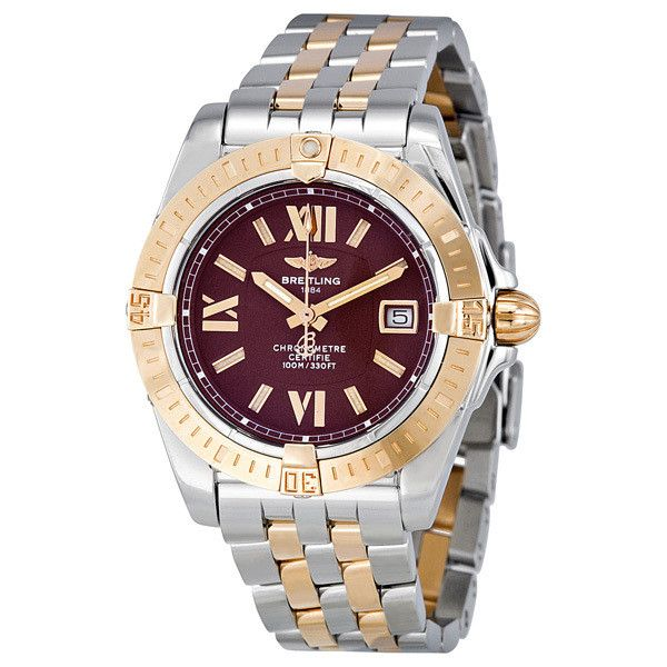Breitling Lady Cockpit Rose Gold and Steel Burgundy Dial Ladies Watch ($4,996) ❤ liked on Polyvore featuring jewelry, watches, rose gold wrist watch, pink gold jewelry, rose gold jewellery, dial watches and water resistant watches