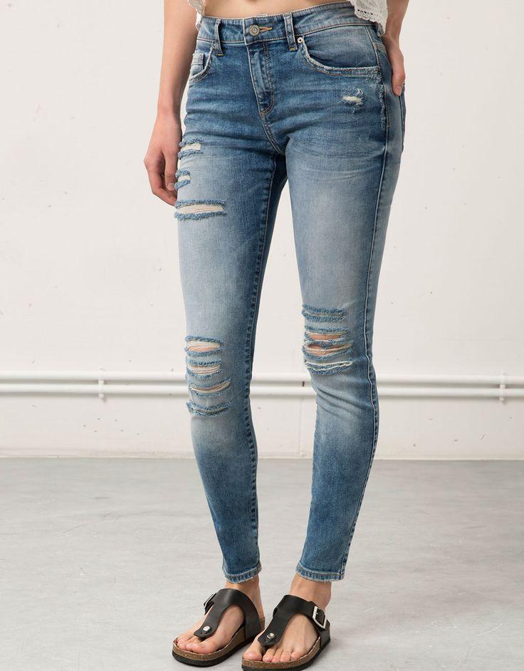 Super Skinny jeans Ripped, Bershka. - Denim - Bershka Netherlands