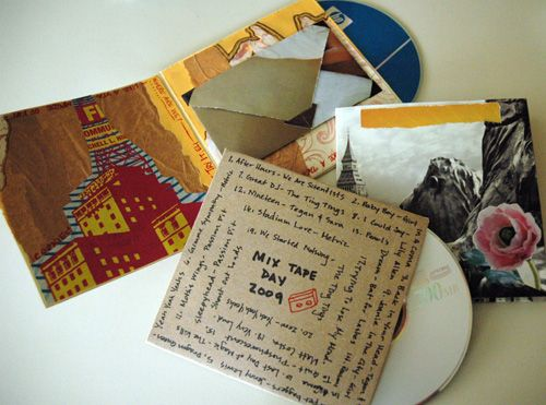 Make your own CD sleeve/case. I just made these with scrapbook papers for my BF's birthday mix cds. Awesome printable template!.......nice idea