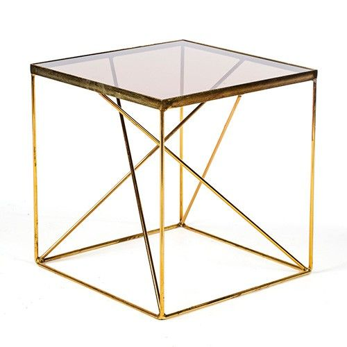 Rio Geometric Gold Side Table - Glass Top