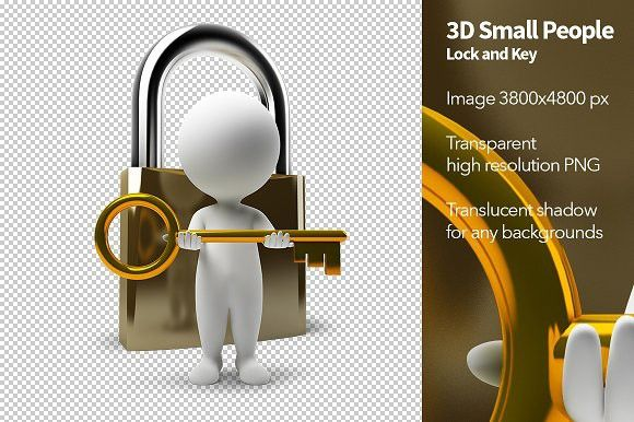 3d Small People Lock And Key Lock And Key Image Key Small