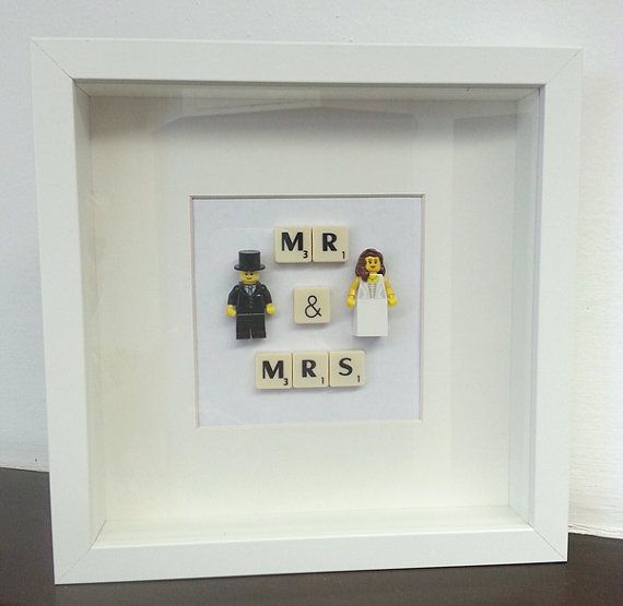 Wedding couples gift idea, Mr & Mrs lego picture frame, bride, groom, bridesmaid anniversary, engagement, vintage,