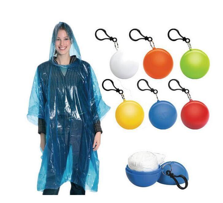 5 Pcs Disposable Poncho Cloth 6.5Cm Round Ball Raincoat 6 Colors Wholesale Charm