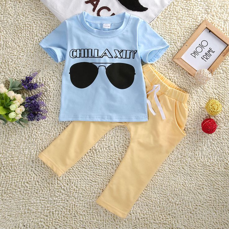 >> Click to Buy << 2016 Summer Newest Cool Baby Kids Boys Clothes Outfits Sky Blue Glass Printing Short sleeve T-shirt Top+Yellow Pants Set 1-5Y #Affiliate