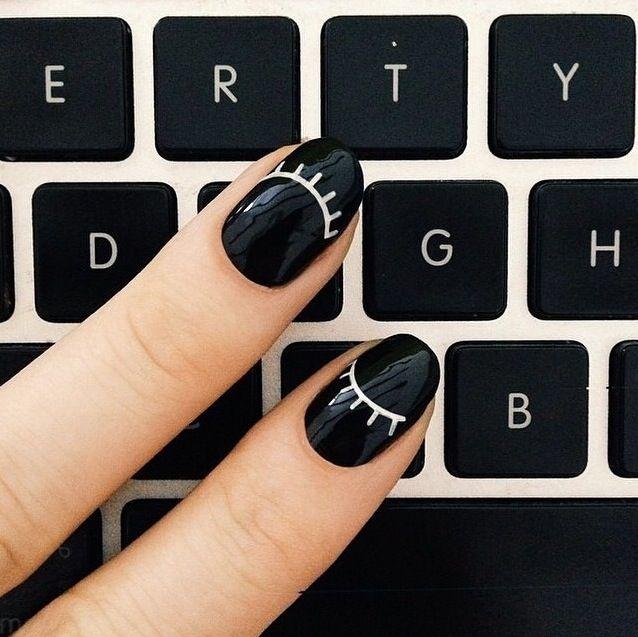 Fun eyelash black + white manicure.