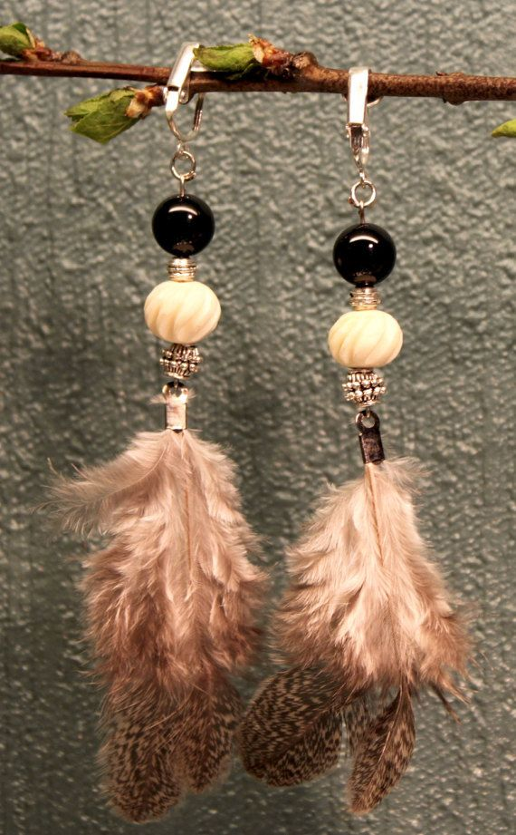 Grey chicken feather earrings